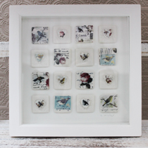 Birds and rose tile frame
