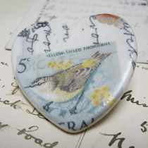 Stamp heart brooch