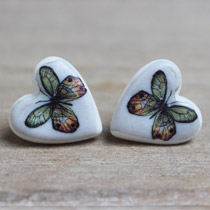 Amber and jade butterfly stud earrings