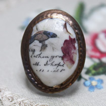 Blue and brown bird cameo ring