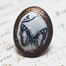 Black and white butterfly cameo ring
