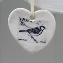 Black and white bird stamp heart decoration
