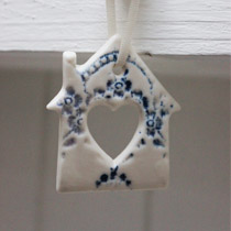 Blue and white lace house hanging decoration