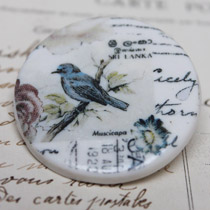 Blue bird round brooch