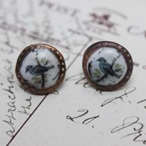Blue bird cameo stud earrings