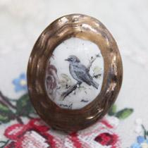 Blue bird contoured cameo ring