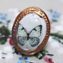 Blue butterfly cameo ring