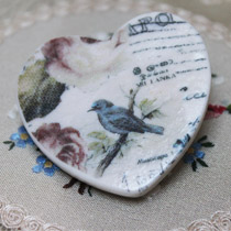 Blue bird heart brooch