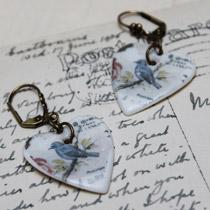Blue bird heart drop earrings