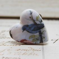 Blue bird heart ring
