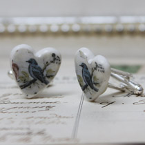 Blue bird cufflinks