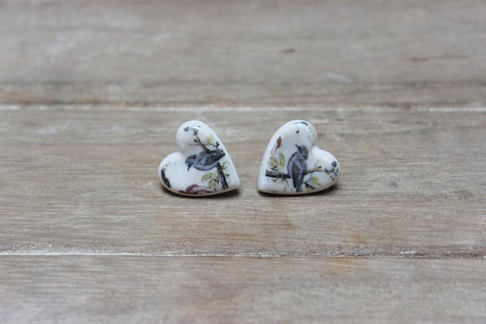 Blue bird stud earrings