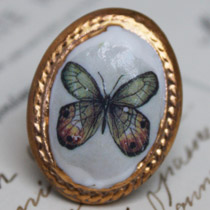 Amber and jade butterfly cameo ring