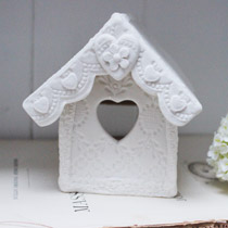 Bird house lace tea light