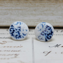 Blue inlay button stud earrings
