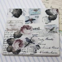 Coaster square birds and roses