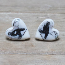 Black bird stud earrings