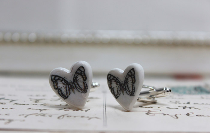 Black and white butterfly cufflinks