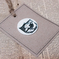 Black and white bird stamp button