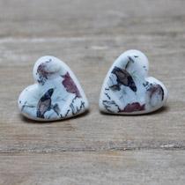 Blue and brown bird stud earrings
