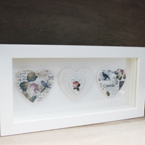 Bird and rose three heart frame