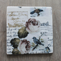 Wall tile hanging with birds and roses