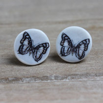 Black and white butterfly stud earrings