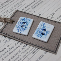 Blue and white lace rectangle buttons