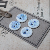 Blue and white lace round buttons