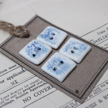 Blue and white lace square buttons