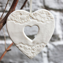White cut out heart Christmas decoration