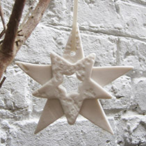 Double white star Christmas decoration