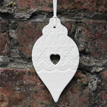 Large heart cut out bauble decoration
