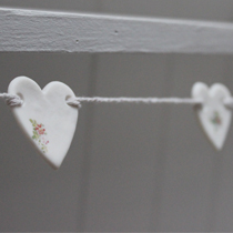Floral heart mini bunting