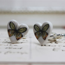 Amber and jade butterfly cufflinks