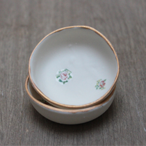 Mini porcelain dish with gold edging