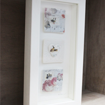 Geese, hares and ducks three tile frame