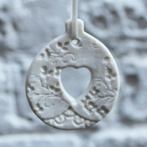 White lace heart bauble Christmas decoration