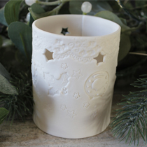 Christmas holly and wreath tea light