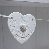 Lace heart bunting with roses