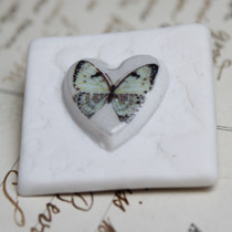 Lace tile blue butterfly brooch