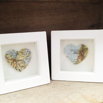 Personalised framed vintage map heart