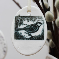 Small black and white bird egg decoration
