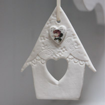 Bird house hanging decoration with rose