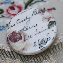 Rose and handwriting round brooch