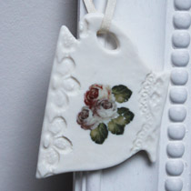 Rose teacup hanging decoration