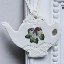 Rose teapot hanging decoration