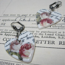 Rose and handwriting heart drop earrings