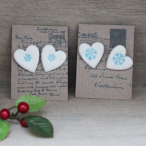 Snowflake heart earrings