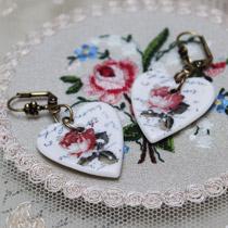 Rose heart drop earrings